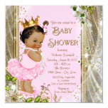 Ethnic Princess Tutu Pink Gold Baby Shower 13 Cm X 13 Cm Square Invitation Card