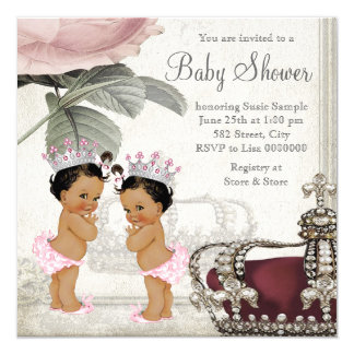 Ethnic Princess Twin Girl Baby Shower Card