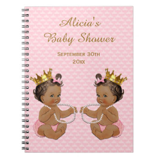 Ethnic Princess Twins Pink Quilted Guestbook Notebook