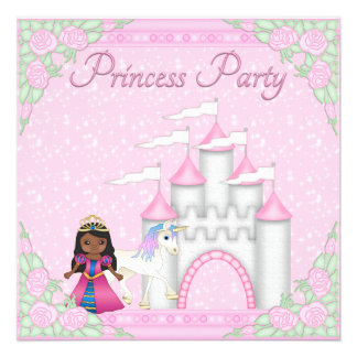Ethnic Princess Unicorn Castle Princess Party Custom Invite
