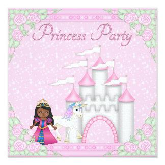 """Ethnic Princess, Unicorn & Castle Princess Party 5.25"""" Square Invitation Card"""