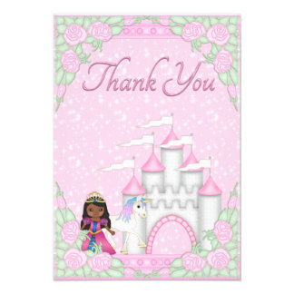 Ethnic Princess Unicorn Castle Thank You Personalized Invitation