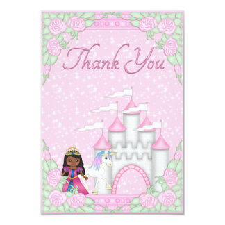 Ethnic Princess, Unicorn & Castle Thank You Personalized Invitation