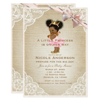 Ethnic Princess Vintage Baby Girl Rustic Shower Card