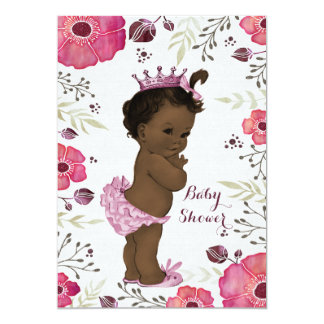 Ethnic Princess Watercolor Poppies Baby Shower 13 Cm X 18 Cm Invitation Card