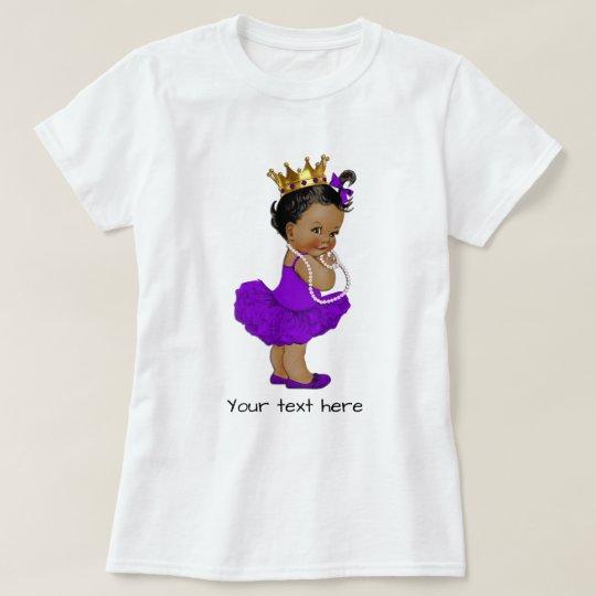 Ethnic Purple Tutu Ballerina Baby Princess Pearls T-Shirt