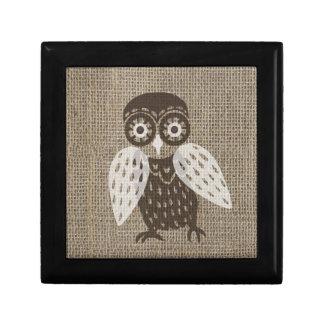 Ethnic retro owl trinket box