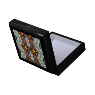 Ethnic rhombus Andes design blue and yellow Gift Box