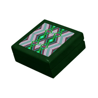 Ethnic rhombus Andes design green and cerise Trinket Boxes