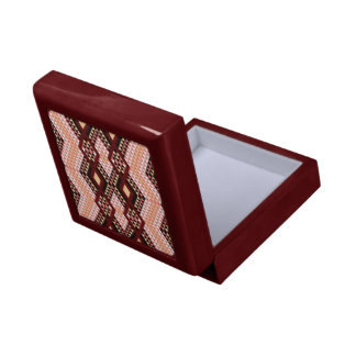 Ethnic rhombus Andes design pink and scarlet Jewelry Boxes