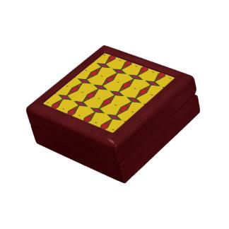 Ethnic rhombus diamonds red on gold gift box