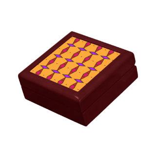 Ethnic rhombus diamonds red, purple on orange keepsake box