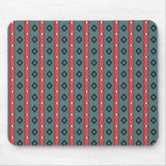 Ethnic ribbons and diamonds, red on dark cyan mouse pad