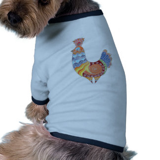 Ethnic rooster colored doodle pet tee shirt
