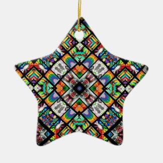 Ethnic Spirograph Ceramic Star Decoration