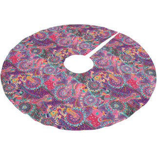 Ethnic Style Animal Pattern | Monogram 2 Brushed Polyester Tree Skirt