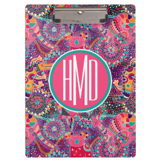 Ethnic Style Animal Pattern | Monogram Clipboard