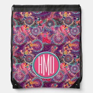 Ethnic Style Animal Pattern | Monogram Drawstring Bag