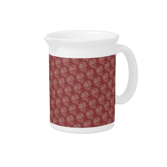 Ethnic Style Floral Mini-print Beige on Maroon Pitcher