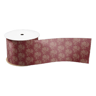 Ethnic Style Floral Mini-print Beige on Maroon Satin Ribbon