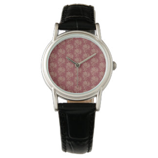 Ethnic Style Floral Mini-print Beige on Maroon Watch