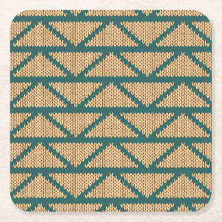 Ethnic Style Knitted Pattern Square Paper Coaster