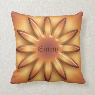 Ethnic Sun. Geometric gradient element. Text. Cushion