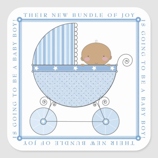 Ethnic Sweet Baby Boy in Carriage Baby Shower