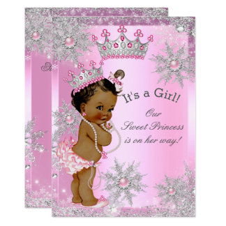 Ethnic Sweet Princess Baby Shower Wonderland Pink Card
