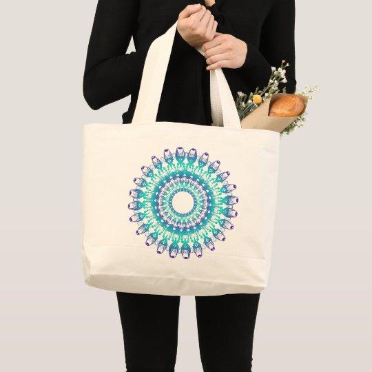 ethnic teal mandala. large tote bag