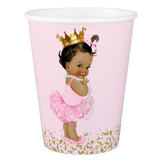 Ethnic Tutu Princess Pink Gold Baby Shower Paper Cup