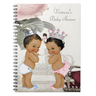 Ethnic Twin Prince and Princess Baby Shower Book Note Books