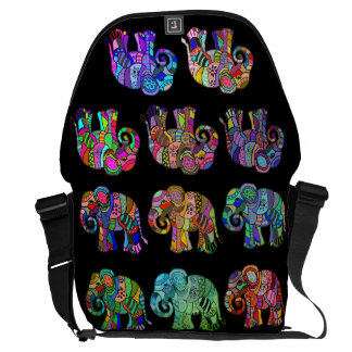 Ethno Colorful Pyschedelic Ornamental Elephants Courier Bag