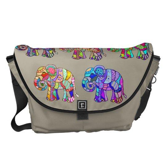 Ethno Colourful Pyschedelic Ornamental Elephants Messenger Bag