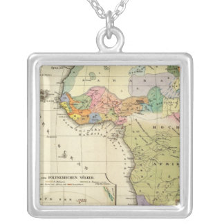 Ethnographic Map of Africa Silver Plated Necklace