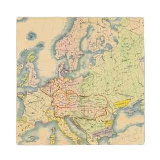Ethnographic map of Europe Maple Wood Coaster