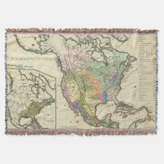 Ethnographic Map of North America Throw Blanket