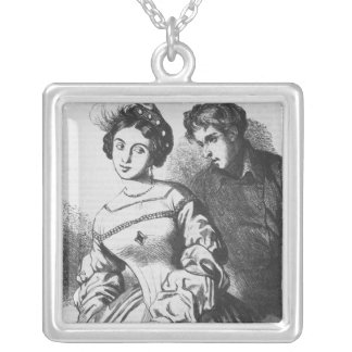 Etienne Lousteau speaking to an actress Square Pendant Necklace