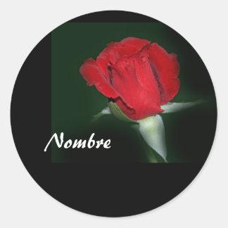 Etiqueta Engomada con Rosa Roja Round Sticker