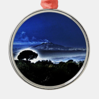 Etna's evening mist Silver-Colored round decoration