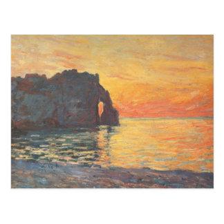 Etretat, Cliff of d`Aval, Sunset - Claude Monet Postcard
