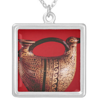 Etruscan askos in the shape of a duck silver plated necklace