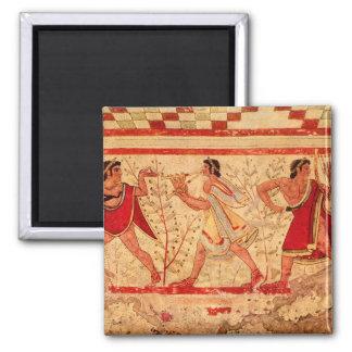 Etruscan musicians square magnet