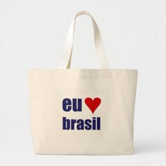 eu amo brasil large tote bag