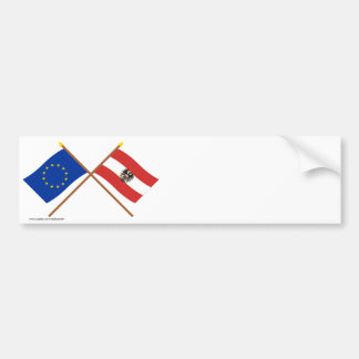 EU and Austria Crossed Flags Bumper Sticker