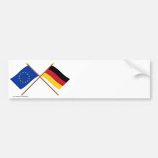 EU and Germany Crossed Flags Bumper Sticker