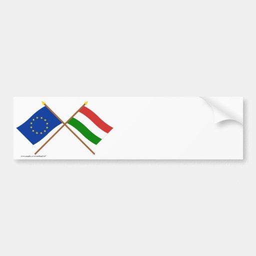 EU and Hungary Crossed Flags Bumper Sticker