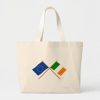 EU and Ireland Crossed Flags Tote Bags