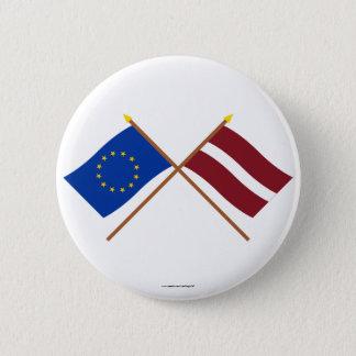 EU and Latvia Crossed Flags 6 Cm Round Badge