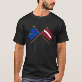 EU and Latvia Crossed Flags T-Shirt